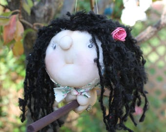 Lucia the Kitchen Witch - Kitchen Witch Doll - Herb Witch - Green Witch - Good luck doll for your kitchen!