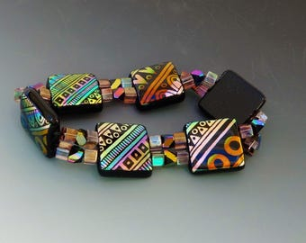 Stretchy Bracelet, Southwest Patterned Bracelet, Southwest Fused Glass Stretch Bracelet, Dichroic Glass Bracelet - Indian Blanket