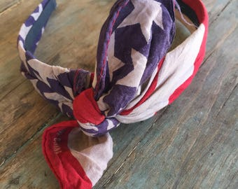 Vintage Washed American Flag Knot Tied Headband Bandanna Headwrap Hair Band