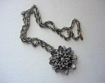 Lovely Vintage Rhinestone Layered Flower Designed Silvertone Metal Pendant Necklace