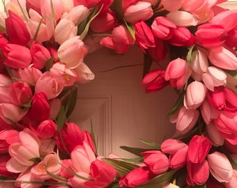 Spring Wreath, Tulip Wreath, Pink Wreath, Floral Wreath, Spring Decor, Easter Wreath, Shabby Chic Decor,