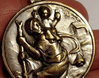 Flash Sale Large Vintage Rustic Brass Silver Plated Saint St Christopher Pope Paul VI Religious Medal Pendant Worn Weathered