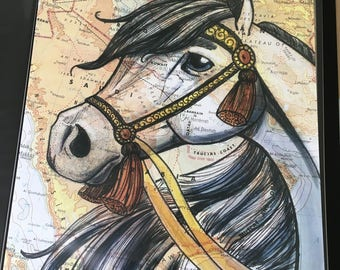 Arabian Horse Poster, 11x17 inches, Horses of the World, Repurposed Map, Saudi Arabia