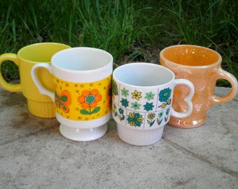 Vintage Fire King Peach Luster, Opaque Yellow + Funky Retro Flowers & Butterflies - 4 Coffee Mugs / Cups Gift - USA + Japan Made Circa 1960s