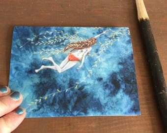 ocean themed card, swimmer girl, water lover, shabby chic, gift for her, illustrated blank card, glossy finish, shellieartist, summer card