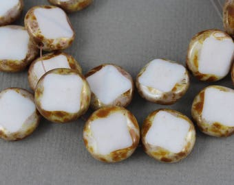 White Czech glass pressed, table cut coin beads with picasso brown edges - 16mm - 6 pcs - GEO115