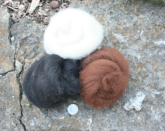 100% Alpaca Fiber Batt, Locally Grown and Processed, 1/2 Ounce, Brown, Black, White, Fast and Free Shipping