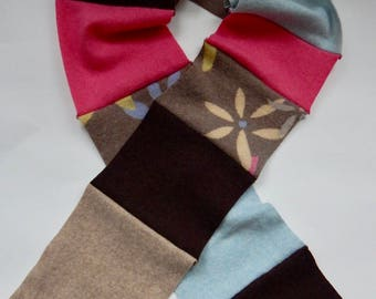 Recycled Cashmere Scarf - Brown, Pink and Blue