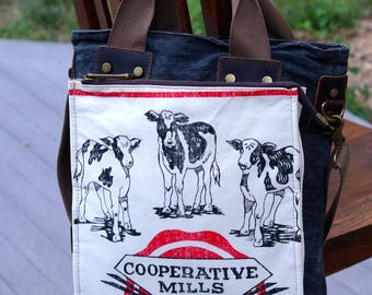 Cooperative Mills Feeds - Rare Clean Bag! - Book Tote OOAK Canvas & Leather Tote .. Selina Vaughan