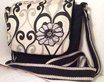 Crossbody bag, Gray, Beige and black, beautiful applique. Perfect Gift