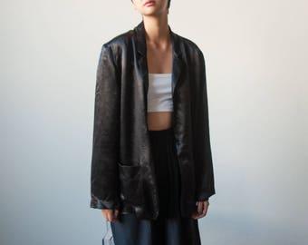 RESERVED. black satin boyfriend blazer / oversized black jacket / minimalist blazer / s / 2268o