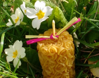 Pure Beeswax Rose Pillar Candle / Handmade Candle / Candle Gift