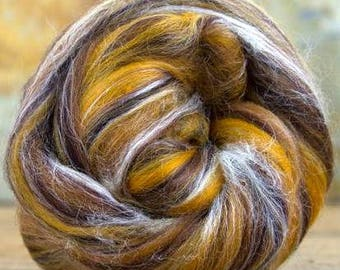 LYNX - 70/30 Merino/Tussah Silk Combed Top - 4 oz to Spin Felt Fiber Art Chocolate Brown Gold