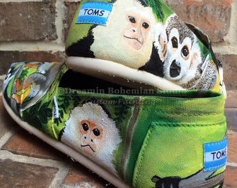 TOMS Shoes, Custom Tropical Slip-ons for Men, Hand Painted Colorful Shoes, Capuchin Squirrel Monkeys, Island Vacation, Gift for Husband