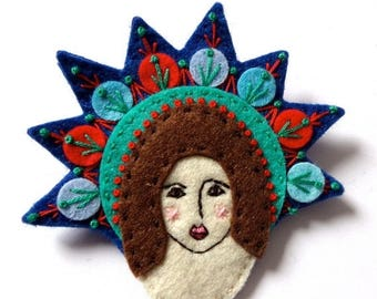 HALF PRICE Summer Sale Mexican GUARDIAN Angel felt brooch pin with freeform embroidery