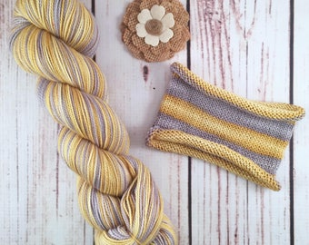 Silver And Gold: Hand-dyed self-striping sock yarn, 80/20 SW merino/nylon