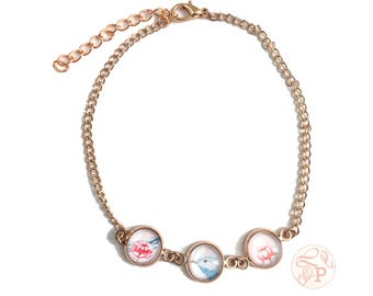 Blue bird rose gold anklet / watercolour floral jewellery / vintage inspired floral jewellery / Shabby Chic pink rose gold jewellery