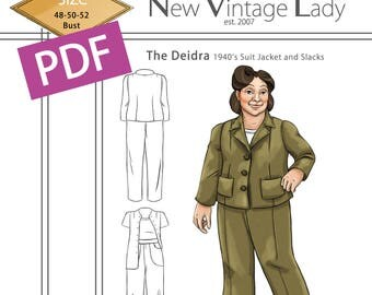 The Deidra 1940s WWII slacks and jacket set in PDF size 48-50-52 bust NVL plus size multi size repro vintage sewing patterns