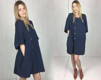Navy Cotton Kimono Dress