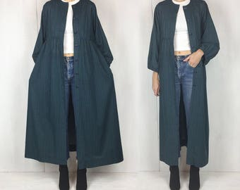 70s Navy and Green Plaid Duster Maxi Dress