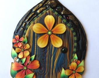 Blue Fairy Door Handmade by Claybykim Polymer Clay Miniature Fairy Garden Decor