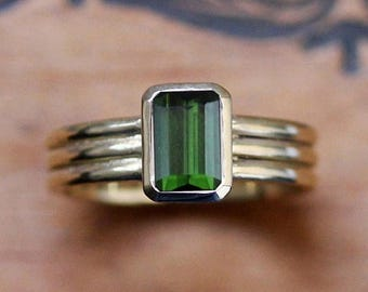 Green tourmaline ring, 14k gold ring, modern gold ring, emerald cut ring, triple band ring, October birthstone ring, column made to order