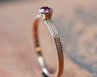 Rose gold ruby ring - braided wheat ring - 14k rose gold - red ruby - July birthstone - birthstone stack ring  - ready to ship size 8