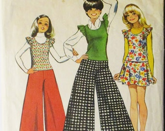 1970s Vintage Sewing Pattern Simplicity 5763 Girls Pullover Top, Skirt & Wide Leg Pants Pattern Size 8 Breast 27