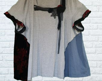 5X Color block Tunic Shirt Eco Friendly Plus Recycled Fashion Earthy Gray Red Black