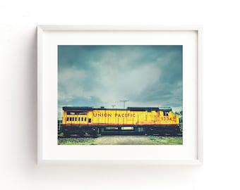 "train art, rustic wall art, boys room art, boys room decor, trains, large art, large wall art, canvas art, gray, art - ""Union Pacific 9334"""