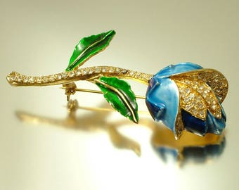 Vintage/ estate 1950s gold plated, diamante / paste and enamel flower costume pin brooch - jewellery jewelry