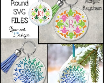 Instant Download Keychain Ornament Coasters Digital Cut Files, Christmas Decor SVG Cut Files NOEL Holiday blanks Cricut Silhouette Vinyl Art