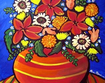 Fall Color  Floral Whimsical Folk Art Giclee Canvas PRINT