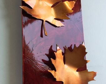 Copper Wall Art Maple Leaves, 4x8 inches, Copper maple leaf artwork, Deep red metal wall art with copper artwork