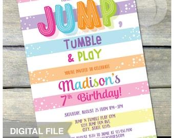 "Jump Gymnastics Birthday Invitation Jump Tumble Play Pink Girl Party - DIGITAL Printable Invite - 5"" x 7"""