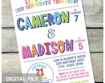 "Joint Birthday Party Invite - Combined Birthday Invite - Brother Sister Boys or Girls Twins Any Age - DIGITAL Printable Invite - 5"" x 7"""