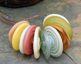 Fun and Funky Disk Lampwork Beads Disks   - Butter Soft - Disks  Set handmade