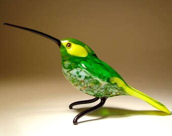 Handmade Blown Glass Art Green & Yellow HUMMINGBIRD Bird Figurine