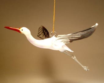 Blown Glass Figurine Bird Hanging White and Black EGRET Heron Ornament