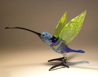 Handmade Blown Glass Figurine Art Bird Blue and Green HUMMINGBIRD with a Long Beak