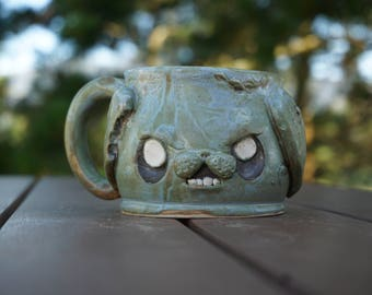 Hand thrown, ceramic, Zombie Bunny Mug