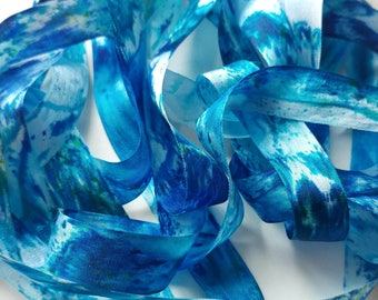 """Silk Ribbon, Hand Dyed Watercolour : Heart of the Ocean (blue, woven, 100% silk, 13 mm/ 0.5"""" wide, 4 yards OR custom length)"""