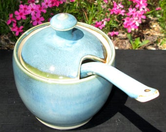 Honey Pot/Sugar Jar in Shades of Turquoise