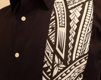 Men's Black Shirt With Polynesian Black/White Fabric Detail
