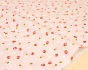 Japanese fabric double gauze - little strawberries - pink - 50cm