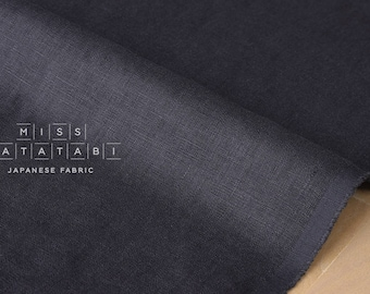 Japanese Fabric 100% brushed linen - moody blue -  50cm