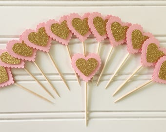 Handmade Paper Pink Gold Heart Party Cupcake Toppers Set of 12 Birthday Party , Wedding Party Cupcake toppers
