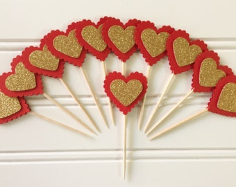 Handmade Paper Red Gold Heart Party Cupcake Toppers Set of 12 Birthday Party , Wedding Party Cupcake toppers