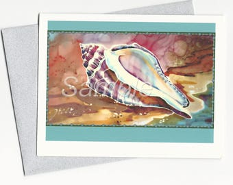 Shell Watercolor Colorful Note Card and Envelope