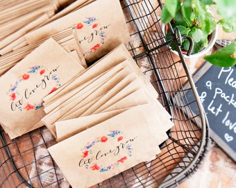 In Stock - Wedding or Bridal Shower Seed Favor -  Let love grow - wildflower seeds - Watercolor Wreath - Rush, expidited processing